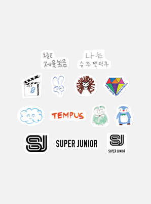 SUPER JUNIOR HAND DRAWN LUGGAGE STICKER SET