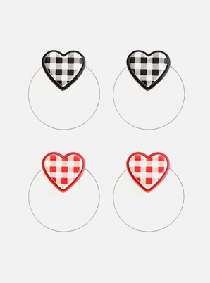 [A PRECIOUS MOMENT &P!CK] GRAIN DE BEAUTE  GINGHAM CHECK HEART EARRINGS